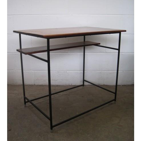 Conran style mahogany & enamelled metal console desk table - c1950s