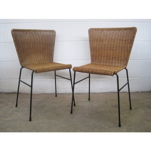 Conran style woven cane & enamelled metal chairs - c1950s