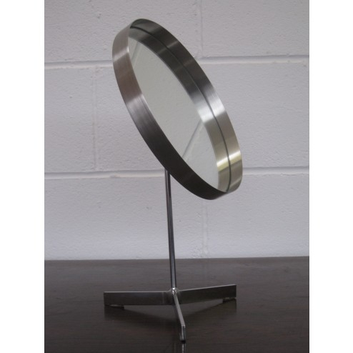 Durlston Designs triple prong pedestal vanity mirror in stainless steel c1965