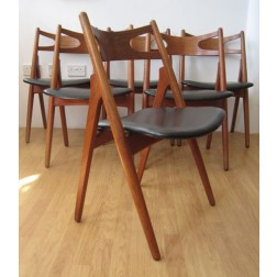 "Hans J Wegner set of 6  CH29 ""Sawbuck"" chairs"